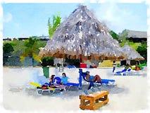 DW beach umbrella Royalty Free Stock Image