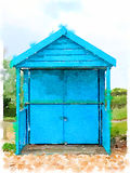 DW blue beach hut. Digital watercolor painting of a blue beach hut with its doors closed. Could be closed for winter Royalty Free Stock Photography