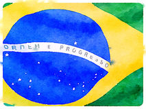 DW Brazilian flag 1. Digital watercolor painting of a close up of a Brazilian flag Royalty Free Stock Photos
