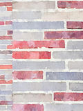 DW brickwork 1. Digital watercolour painting of 2 sizes of brickwork in red, grey and beige. Can be used as a background and with space for text Royalty Free Stock Photos