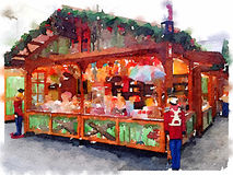 DW Christmas Market Southampton. Digital watercolor painting of a colorful candy Chalet stand on a German Christmas Market in Southampton on an overcast winters royalty free stock images