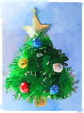DW Christmas tree. Digital watercolor painting of a decorated Christmas tree with a gold star on top and a light blue background and space for text Royalty Free Illustration