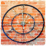 DW Clock. Digital watercolor painting of a black clock with Roman numbers against a red brick wall Stock Photography