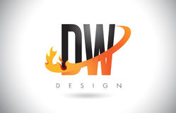DW D W Letter Logo with Fire Flames Design and Orange Swoosh. Royalty Free Stock Photo
