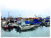 DW Fishing boats Marina. Digital watercolor painting of fishing boats and dinghies in a marina in Portugal on a cloudy day with space for text Royalty Free Stock Image