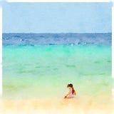DW-flicka på strand 2 Fotografering för Bildbyråer