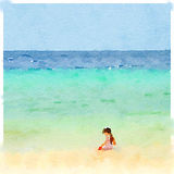 DW girl on beach 2. Digital watercolor painting of a young girl on the beach playing in the sand. Space for text Stock Image