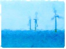 DW het water van windturbines Stock Afbeeldingen