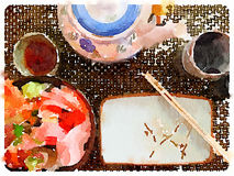 DW Japanese Place Setting royalty free illustration