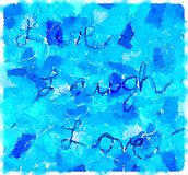 DW Live Laugh Love. Digital watercolor painting of the text Live, Laugh Love on a blue textile fabric background Stock Photo