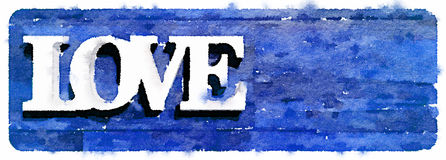 DW Love on blue. Digital watercolor painting of the word love on a blue background. Space for text Stock Photo