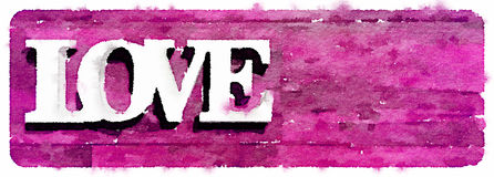 DW Love on pink. Digital watercolor painting of the word love on a pink background. Space for text Stock Illustration