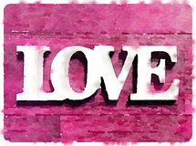 DW Love on pink short. Digital watercolor painting of the word love on a pink background. Space for text Royalty Free Stock Photos