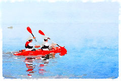 DW men in canoe. Digital watercolor painting of two men rowing in a kayak on a lake. With space for text Stock Image