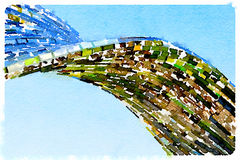 DW Mosaic reflection background. Digital watercolor painting of a mosaic mirror background with a twist reflecting green from trees with a blue sky as a Royalty Free Stock Image