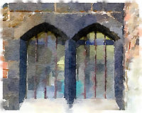 DW of an old double window. Digital watercolor painting of an old double window in the Cathedral in Gloucester in the UK. The windows are surrounded by black Stock Photo