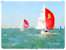 DW saiboats racing 1. A digital watercolor painting of a sailing boats in the sea racing with their sails up and with space for text Royalty Free Stock Photo
