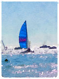 DW sailboat with blue sails up 1. A digital watercolor painting of a sailing boat at sea with its sails up and with other boats around. Space for text. Portrait Stock Photo