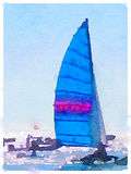 DW sailboat with blue sails up 2. A digital watercolor painting of a sailing boat at sea with its sails up and with other boats around. Space for text. Portrait Royalty Free Stock Photos