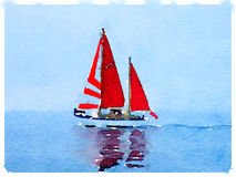DW sailboat with red sails up 1. A digital watercolor painting of a sailing boat at sea with its sails up and with space for text Royalty Free Stock Photo