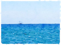 DW sailing boat at sea. Digital watercolor painting of a sailing boat at sea with space for text Royalty Free Stock Photography