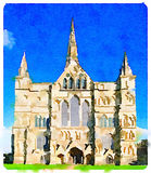 DW Salisbury Cathedral in the UK on a sunny day. Digital watercolor painting of Salisbury Cathedral which has the tallest church spire in the UK photographed on Stock Photos