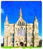 DW Salisbury katedra w UK na słonecznym dniu zdjęcia stock