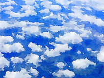DW sky clouds. Digital watercolor painting background of white clouds in the blue sky with space for text Royalty Free Illustration