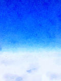 DW sky clouds 3. Digital watercolor painting background of white clouds in the blue sky with space for text Stock Photos