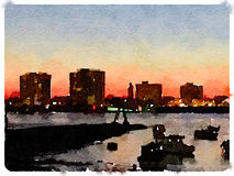 DW Skyline UK. Digital watercolor painting of a skyline at night as the sun is setting with boats anchored in the river. Space for text Royalty Free Stock Photos