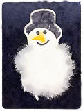 DW snowman. Digital watercolor painting of a fluffy snowman with a carrot nose and a hat with a dark background and space for text Stock Illustration