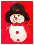 DW Snowman 2. Digital watercolor painting of a fluffy snowman with a carrot nose and a hat with a dark background and space for text Stock Image