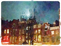 DW spooky houses at night. Digital watercolor painting of a row of terraced spooky Dutch houses with a tree and moonlight against the night sky Royalty Free Stock Photography