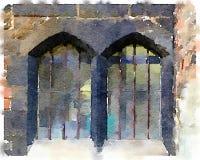 DW stary dwoisty okno Zdjęcie Stock