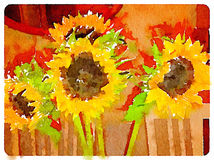 DW Sunflowers indoors. Digital watercolor painting of sunflowers indoors with space for text Stock Photo