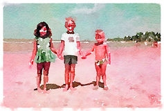 DW Three children on beach 1. Digital watercolor painting of 3 children holding hands on the beach Stock Illustration
