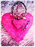 DW Vintage double hearts with lavender 2 Royalty Free Stock Images