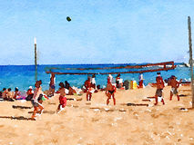 DW volleyball on the beach 1. Digital watercolor painting of people playing volleyball on the beach with the sea in the background. With space for text Royalty Free Stock Photography