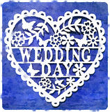 DW Wedding Day Blue. Digital watercolor painting of a decorative wedding day heart on a blue background Stock Illustration
