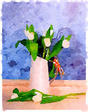 DW White tulips in a white jug. Digital watercolor painting of white tulips arranged in a white jug with raffia on the handle with a blue textured background Vector Illustration