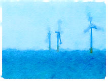DW Wind turbines water. Digital watercolor painting of three wind turbines in water with space for text Royalty Free Illustration