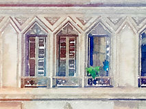 DW windows in Brazil. Digital watercolor painting of windows in Brazil. Three windows with shutters and plants on the ledge. Stone rectangular windows with Stock Photography