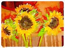 DW zonnebloemen binnen Stock Foto