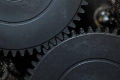 Dwa łączącego brudnego gearwheels Obrazy Royalty Free