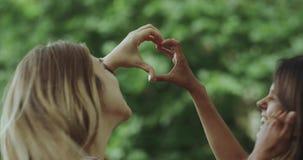 Dwa ładnej damy robi oferty sercu od ręk 4K zbiory wideo