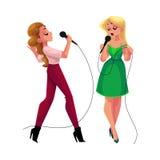 Dwa ładnej dziewczyny, kobiety śpiewa wpólnie, karaoke przyjęcie, konkurs, rywalizacja ilustracja wektor