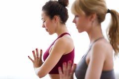 Dwa ładnej młodej sporty kobiety ćwiczy joga w domu Zdjęcia Stock