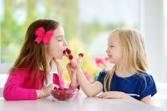 Dwa ładnej małej dziewczynki je malinki w domu Śliczni dzieci cieszy się ich świeże owoc zdrowe jagody i Obrazy Royalty Free