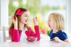 Dwa ładnej małej dziewczynki je malinki w domu Śliczni dzieci cieszy się ich świeże owoc zdrowe jagody i Obraz Stock