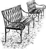 Dwa ławki Zdjęcie Royalty Free